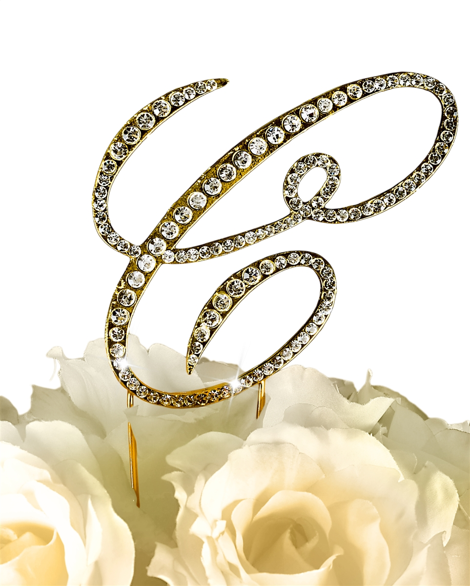 Victorian Collection Rhinestone Monogram Cake Topper in Gold Letter C