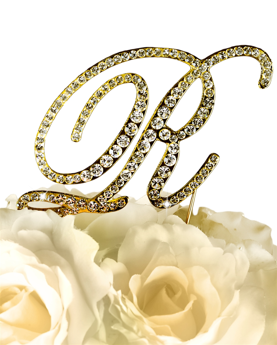 Victorian Collection Rhinestone Monogram Cake Topper in Gold - Letter R