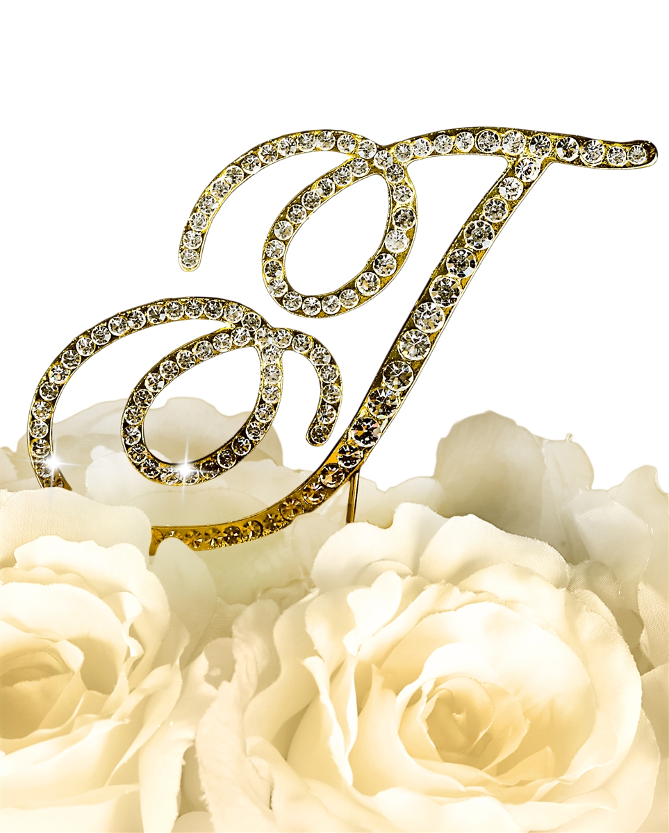 Victorian Collection Rhinestone Monogram Cake Topper in Gold - Letter T