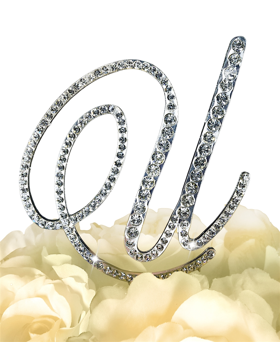 Letter Q Silver Large Unik Occasions Collection Crystal Rhinestone Wedding Cake Topper