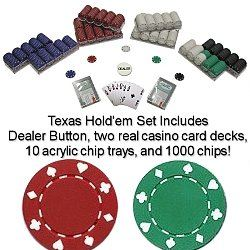 1000 Suited Design Poker Chip Set with Acrylic Chip Trays