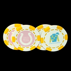 Yellow Six Stripe Direct Print Custom Poker Chips