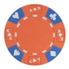 Tri-Color Ace King Suited Poker Chips - Orange