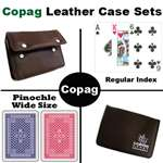 Copag Red/Blue Wide Pinochle Setup with Leather Case
