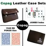 Copag 1546 Red/Blue Poker Jumbo with Leather Case