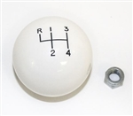 "White 4 Speed Shifter Knob Ball, 3/8 Inch Coarse Thread, 2-1/4"" LARGE Diameter"