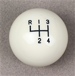 "1964 - 1967 Chevelle & Nova Chevy II White 4-Speed Shift Knob Ball, 9/16-18"", Original Style"