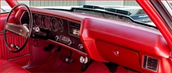 1970 Chevelle Dash Pad in RED, For Dual Corner Speakers