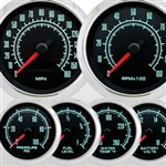 60s Muscle Custom 6 Gauge Set, Speedo, Tach, Volt, Oil, Water and Fuel with Polished Aluminum Bezels