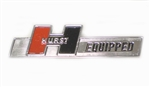 Hurst Equipped Emblem Badge, Die Cast Metal Chrome Plated with Studs