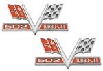 502 V-Flag Chevelle and Nova Fender Emblem, Vee Cross Flags with 502 TURBO-JET, PAIR