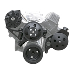 New Small Block Chevy Front Drive System, Black Billet Aluminum