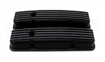 Valve Covers, Small Block, BLACK ALUMINIUM Finned Classic Ribbed Design - Stock