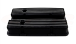 Valve Covers, Small Block, BLACK ALUMINIUM Finned Classic Ribbed Design - Tall