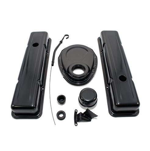 1958 - 1986 CHEVY SMALL BLOCK 283, 305, 327, & 350 BLACK STEEL VALVE COVER,  TIMING COVER, BREATHER, DIPSTICK ENGINE DRESS UP KIT - SHORT