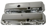1966 - 1972 BIG BLOCK Valve Covers, CHROME Without Drippers, OE Height