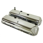 1966 - 1972 Chevelle or Nova Big Block Chrome Valve Covers with Slant, Without Drippers