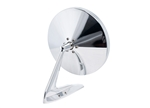 Polished Round Billet Aluminum Side View Mirror with Smooth Leading Edge and Convex Glass
