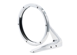 Polished Round Billet Aluminum Side View Mirror with Fasteners Leading Edge and Convex Glass