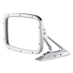 Brushed Rectangular Billet Aluminum Side View Mirror with Convex Glass