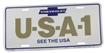 "License Plate, CHEVROLET U-S-A-1 "" SEE THE USA """