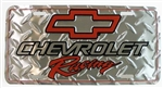 License Plate, Chevrolet Racing with Red Bow Tie Logo and Diamond Plating