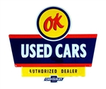 Muscle Car Sign, Metal Tin, OK USED CARS AUTHORIZED DEALER CHEVROLET