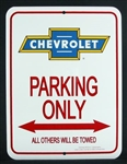 Metal Sign, Parking Only, Chevrolet Bowtie