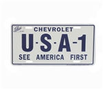 License Plate, USA-1 See America First Chevrolet, Blue and White