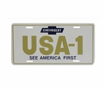 License Plate, USA-1 See America First Chevrolet