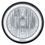 "1968 - 1974 Nova 7"" Crystal Headlight with White LED Halo Ring Headlamp with 9007 Halogen Bulb, Sold Individually"