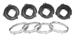 1964 - 1970 Chevelle Headlamp Buckets and Retaining Rings (8 Pieces), Set