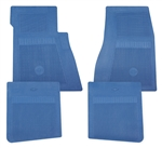 1964 - 1972 Chevelle Floor Mats Set with Bowtie, OE Style Blue