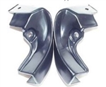 1966 - 1967 Chevelle Door Jamb Upper Windlace End Caps, Black, Pair