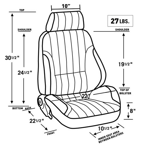 1971 1972 Chevelle Pro Touring Ii Reclining Front Bucket Seat