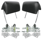 1966 - 1967 Chevelle Headrest Assemblies, Black Pair With Mounting Hardware