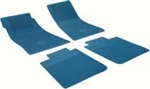 1968 - 1972 Nova Floor Mats Set, Front and Rear, Rubber with Grippers, Medium Blue with Bowtie, OE Style
