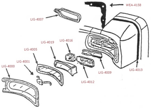 1966 Chevelle Tail Light Bezel Extension Seals, Rope Style
