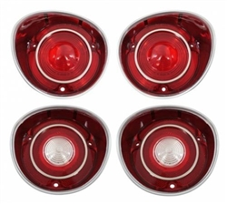 1971 71 Chevy Chevelle SS Malibu Tail Light Lamp Lens Set, 4 Piece Kit with Trim