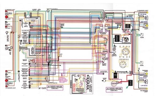 1966 - 1972 chevelle wiring diagram, laminated, color, 11
