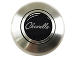 Custom Chevelle Script Horn Cap for Wood or Comfort Grip Steering Wheel, Choose Brushed or Black Finish