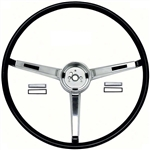 1967 Chevelle Steering Wheel, Deluxe Super Sport, Chrome 3-Spoke Shroud, Black