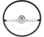 1966 Chevelle Steering Wheel Kit, Deluxe, Chrome 2-Spoke Shroud, Black