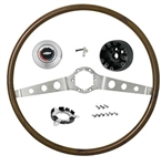 1966 Chevelle Steering Wheel, 2 Spoke Wood Wheel, Kit