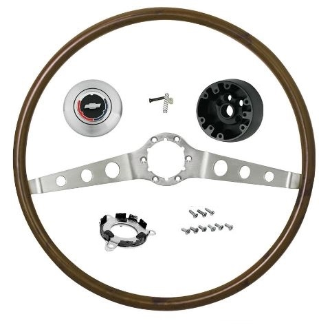 1966 Chevelle Steering Wheel, 2 Spoke Wood Wheel, Kit