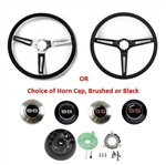 1966 - 1972 Chevelle or Nova Custom Super Sport Comfort Grip Steering Wheel Kit with SS Horn Cap Button