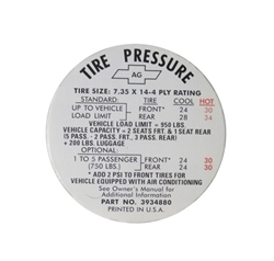 1968 Nova Tire Pressure Decal, 3934880