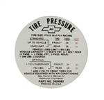 1968 Chevelle Glove Box Tire Pressure Decal, SS Models, 3934883