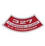 Air Cleaner Decal, 327 Turbo Fire 210 Horsepower