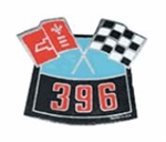396 Big Block Crossed Flags Air Cleaner Breather Decal
